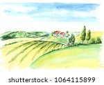 old farm and fields in... | Shutterstock . vector #1064115899