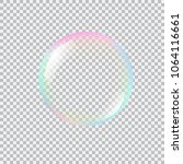 realistic soap bubble with... | Shutterstock .eps vector #1064116661