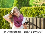 beautiful smiling student girl... | Shutterstock . vector #1064119409