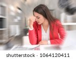 young woman suffering from... | Shutterstock . vector #1064120411