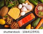 keto diet concept. ketogenic... | Shutterstock . vector #1064125931