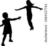 girl running silhouette vector | Shutterstock .eps vector #1064127761
