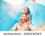 young happy friends having fun... | Shutterstock . vector #1064130365