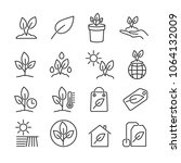 vector image set of plant line... | Shutterstock .eps vector #1064132009