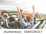 happy friends with hands up... | Shutterstock . vector #1064134217
