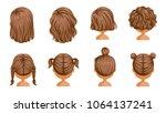 little girl hair  rear view set.... | Shutterstock .eps vector #1064137241