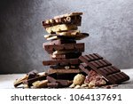 chocolate bars on table with... | Shutterstock . vector #1064137691