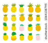 pineapple collection in... | Shutterstock .eps vector #1064138795