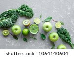 healthy green smoothie with... | Shutterstock . vector #1064140604