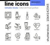 medicaments line icons set  ...   Shutterstock .eps vector #1064142545