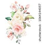watercolor flowers. floral... | Shutterstock . vector #1064144057