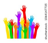 colorful hand up vector. multi... | Shutterstock .eps vector #1064147735