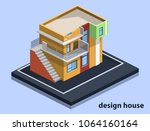 isometric 3d flat illustration... | Shutterstock . vector #1064160164