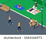 people relax in a green park... | Shutterstock . vector #1064166971