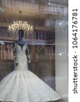 wedding dress in the window and ... | Shutterstock . vector #1064176781