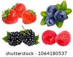 collection of fresh berries... | Shutterstock . vector #1064180537