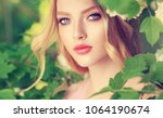 beautiful spring   girl   in... | Shutterstock . vector #1064190674