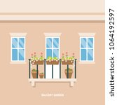 balcony decorated with flowers... | Shutterstock .eps vector #1064192597