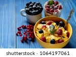 healthy breakfast. corn flakes...   Shutterstock . vector #1064197061