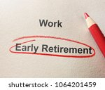 early retirement circled in red ... | Shutterstock . vector #1064201459