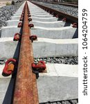 railroad tracks are old but... | Shutterstock . vector #1064204759