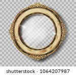 oval wooden frame of gold photo ... | Shutterstock .eps vector #1064207987