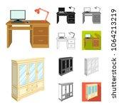 furniture and interior cartoon... | Shutterstock .eps vector #1064213219