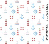 seamless pattern with boat ... | Shutterstock .eps vector #1064215337