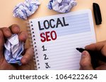 text sign showing local seo.... | Shutterstock . vector #1064222624
