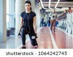 dumbbell lunge woman workout... | Shutterstock . vector #1064242745
