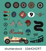 Vector Icons Of Vintage Car...