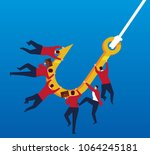 a group of businessmen hooked | Shutterstock .eps vector #1064245181