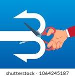 businessman cuts arrow into two ...   Shutterstock .eps vector #1064245187