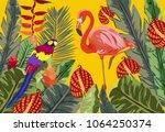 summer tropical background.... | Shutterstock .eps vector #1064250374
