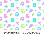 bubble letters  vector seamless ... | Shutterstock .eps vector #1064250419