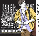 stylish guy on a street... | Shutterstock .eps vector #106425239