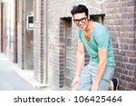 handsome man smiling on the... | Shutterstock . vector #106425464