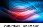 shiny straight lines on dark... | Shutterstock .eps vector #1064255804