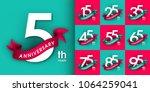 set of anniversary emblems  ... | Shutterstock .eps vector #1064259041
