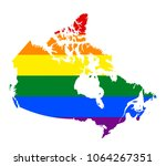 lgbt flag map of canada. vector ... | Shutterstock .eps vector #1064267351