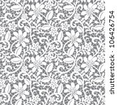Stock vector white seamless lace floral pattern on gray background 106426754