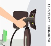 car charger station green... | Shutterstock .eps vector #1064271491