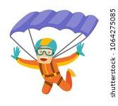 caucasian white man flying with ... | Shutterstock .eps vector #1064275085