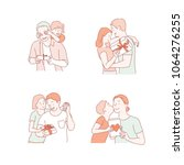 people who give gifts to loved... | Shutterstock .eps vector #1064276255