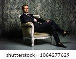 portrait of a handsome man in... | Shutterstock . vector #1064277629