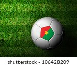 Burkina  Flag Pattern 3d rendering of a soccer ball in green grass - stock photo