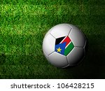 Sudan Flag Pattern 3d rendering of a soccer ball in green grass - stock photo