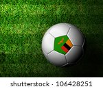 Zambia Flag Pattern 3d rendering of a soccer ball in green grass - stock photo
