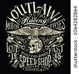 outlaw motors vintage t shirt... | Shutterstock .eps vector #1064282864