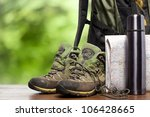 backpack and shoes backpackers | Shutterstock . vector #106428665